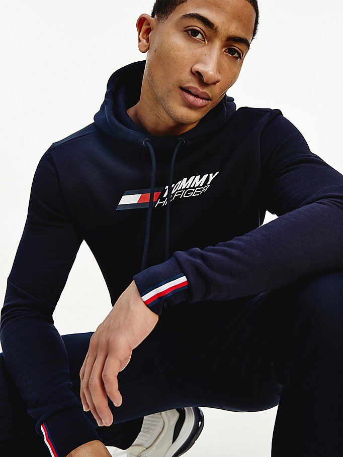 blue sport th cool flex fleece hoody for men tommy hilfiger
