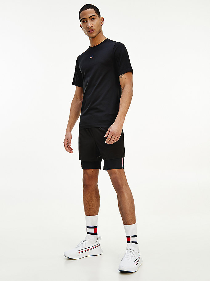 black sport 2-in-1 training shorts for men tommy hilfiger