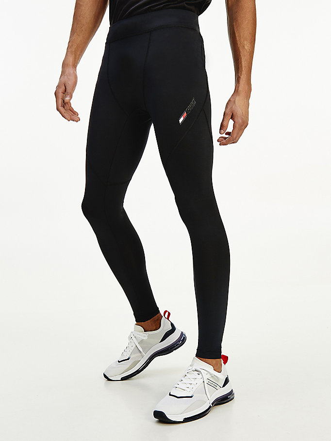 black sport stretch slim fit training leggings for men tommy hilfiger