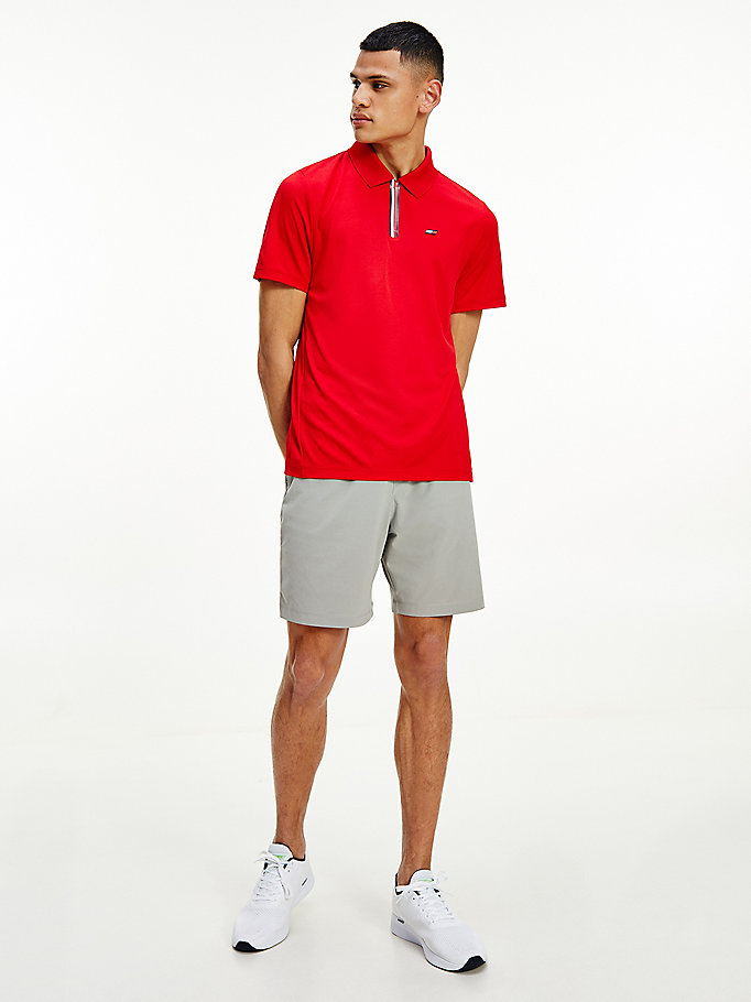 red sport recycled polyester relaxed fit polo for men tommy hilfiger