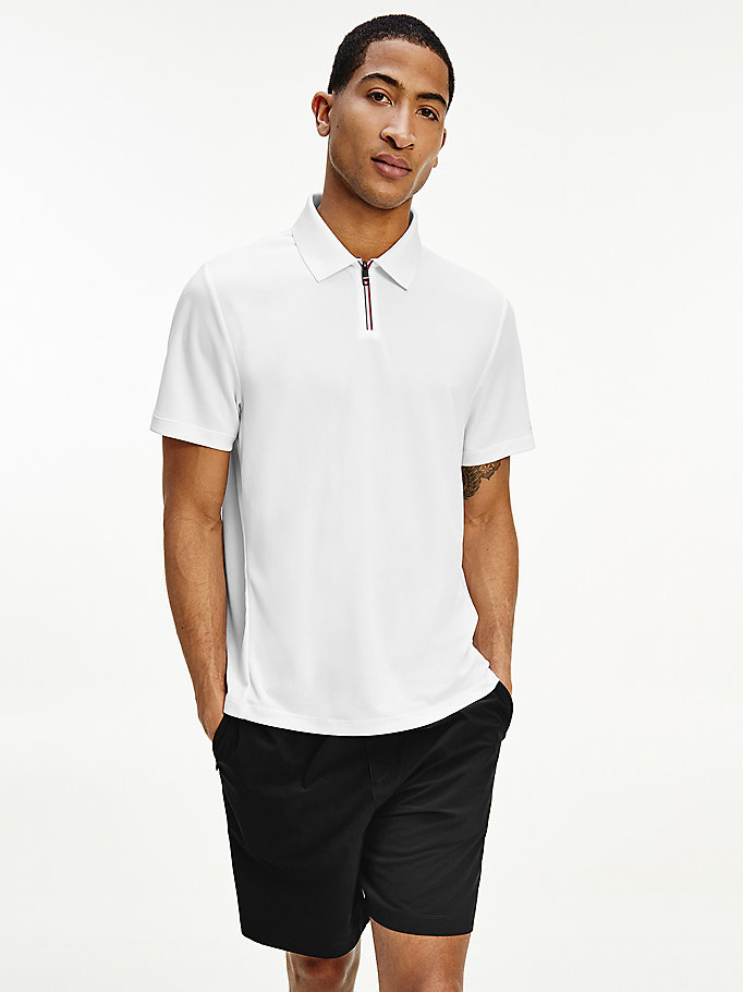 white sport recycled polyester relaxed fit polo for men tommy hilfiger
