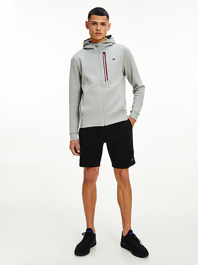 grey sport th cool signature tape zip-thru hoody for men tommy hilfiger