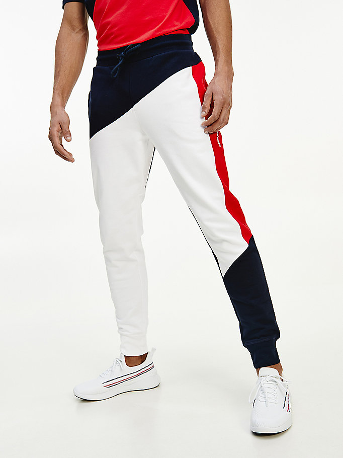 blue sport th cool colour-blocked cuffed joggers for men tommy hilfiger