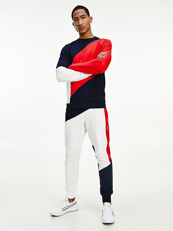 sweat sport colour-block bleu pour men tommy hilfiger