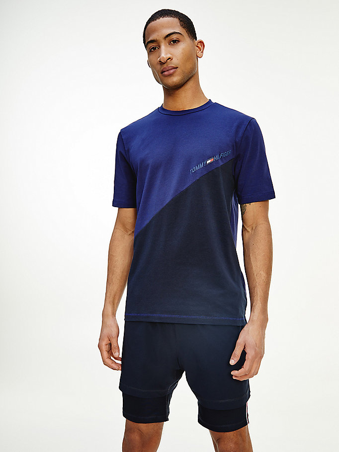 blue sport th cool colour-blocked t-shirt for men tommy hilfiger