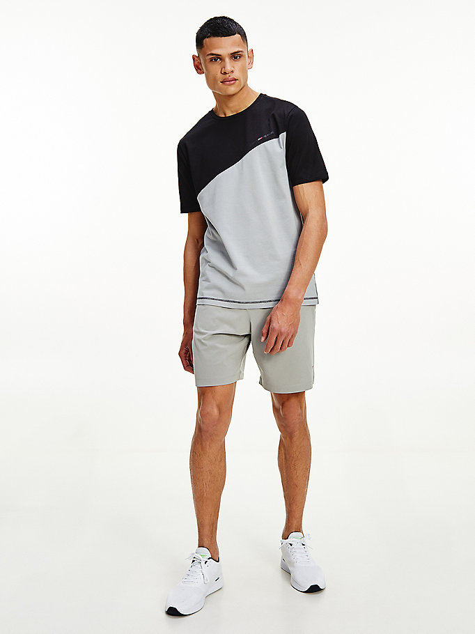 grijs sport th cool colour-blocked t-shirt voor men - tommy hilfiger