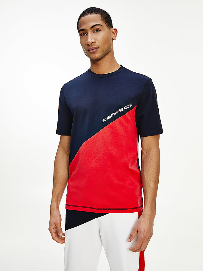 red sport th cool colour-blocked t-shirt for men tommy hilfiger