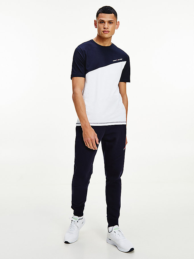 white sport th cool colour-blocked t-shirt for men tommy hilfiger