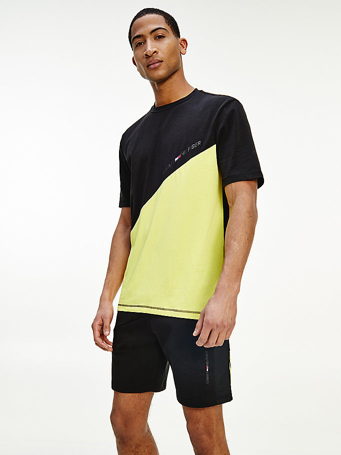 yellow sport th cool colour-blocked t-shirt for men tommy hilfiger