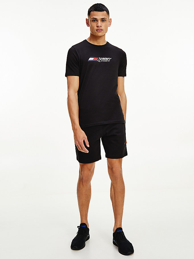 zwart sport th cool slim fit t-shirt voor men - tommy hilfiger