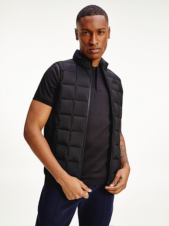 black essential padded gilet for men tommy hilfiger