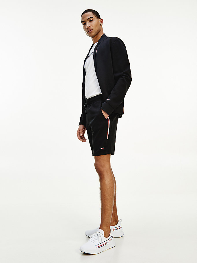 black sport th cool signature tape shorts for men tommy hilfiger
