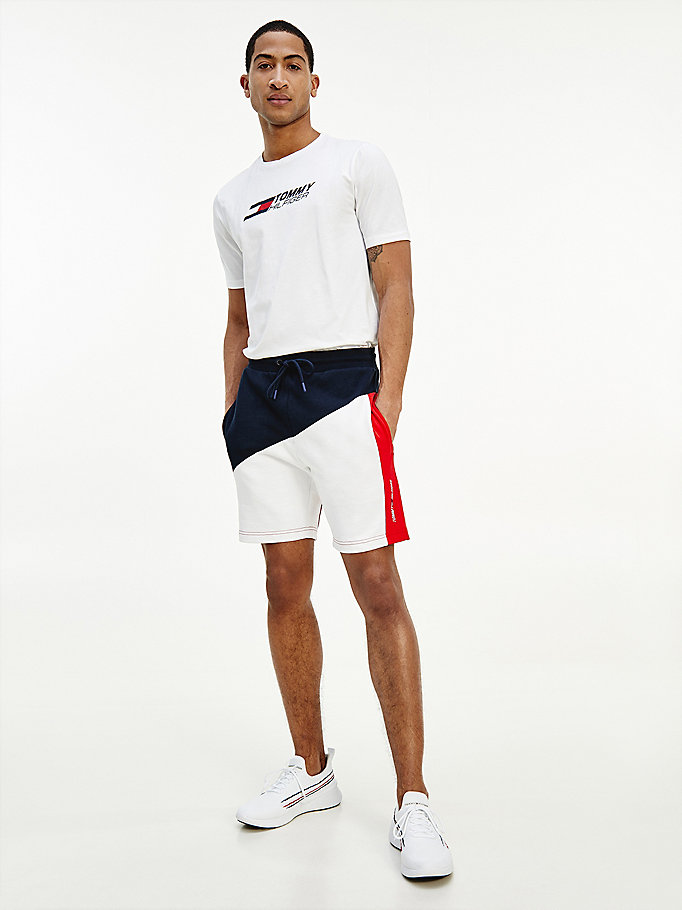shorts sport color block in spugna blu da uomo tommy hilfiger