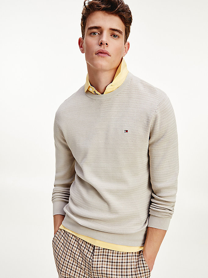 beige flag embroidery organic cotton jumper for men tommy hilfiger