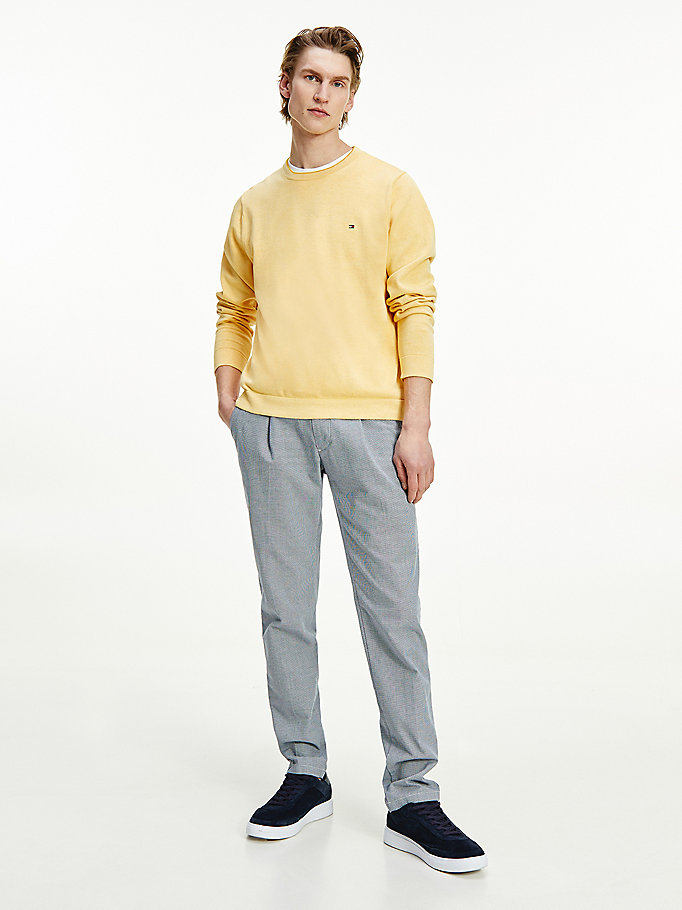 yellow double face organic cotton crew neck jumper for men tommy hilfiger