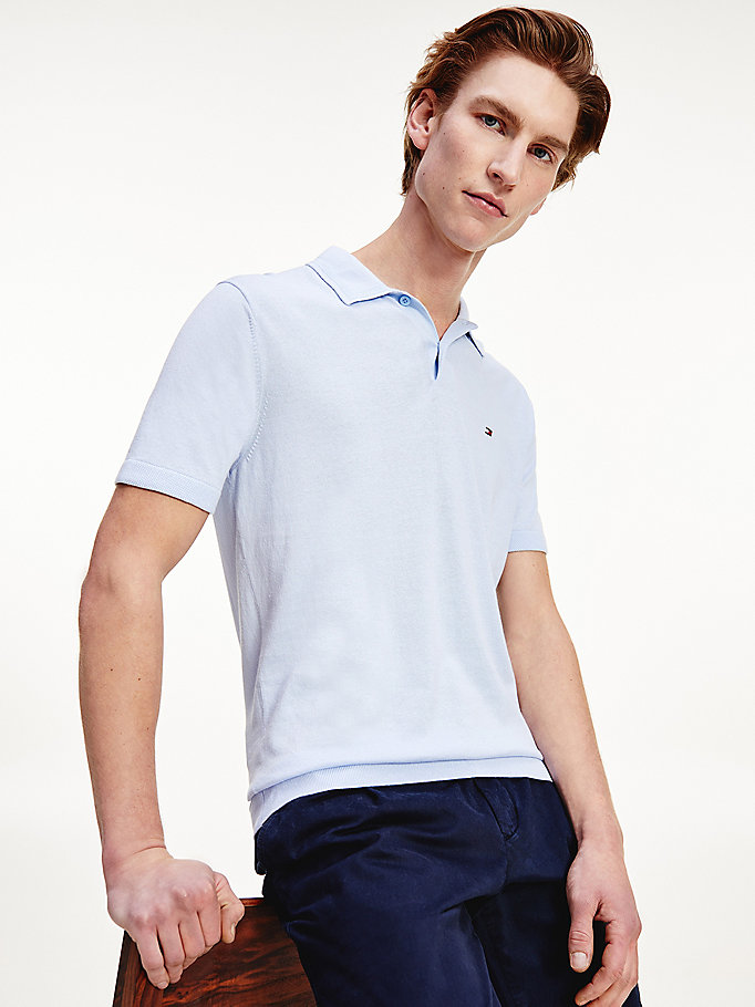 blue tonal collar knitted polo for men tommy hilfiger