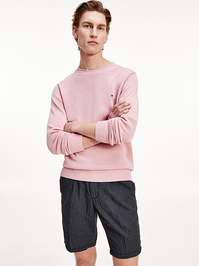 pink lightweight crew neck jumper for men tommy hilfiger