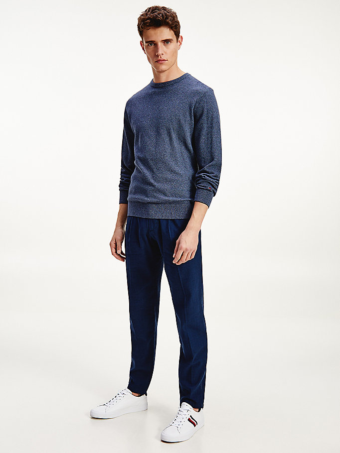 blue organic cotton crew neck jumper for men tommy hilfiger