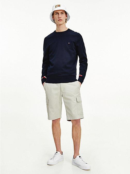 Size 4XL Navy Mens Authentic Tommy Hilfiger Textured Knit Trim Detail Jumper