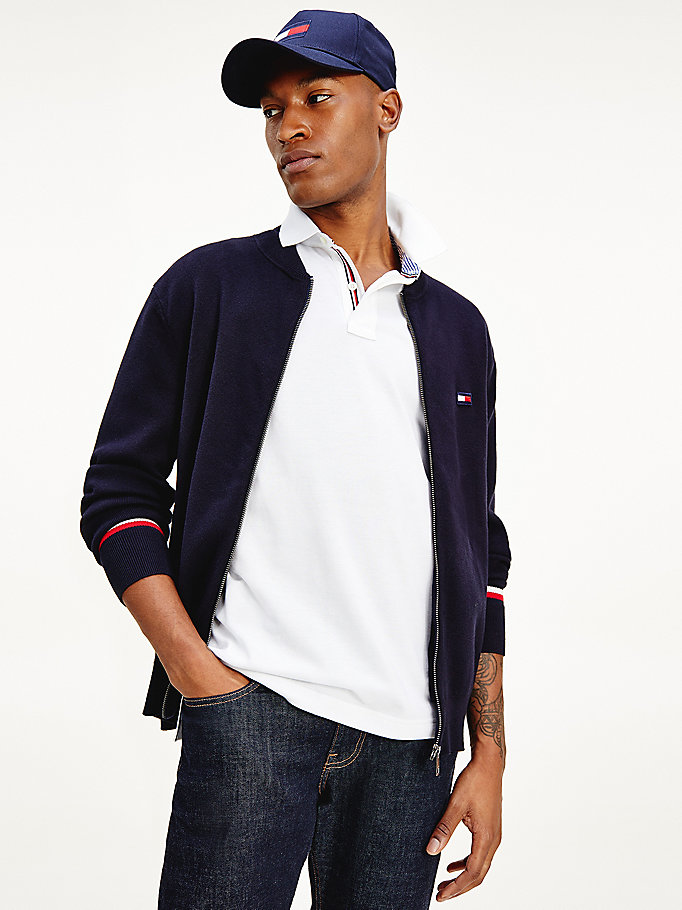 blue zip-thru signature tape cardigan for men tommy hilfiger