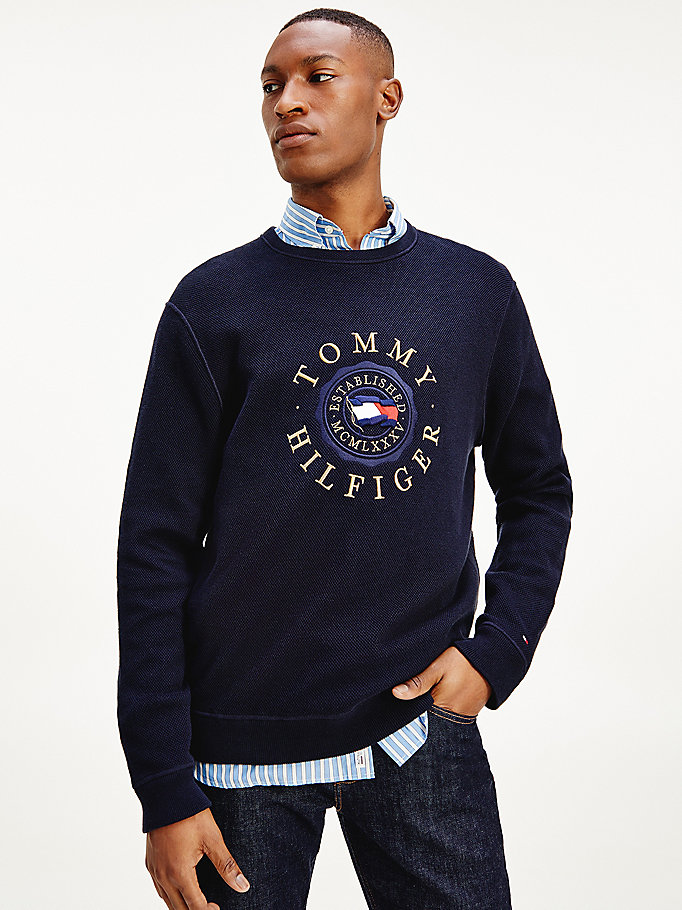 blue structured logo embroidery jumper for men tommy hilfiger