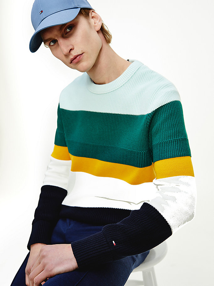 green stripe organic cotton jumper for men tommy hilfiger
