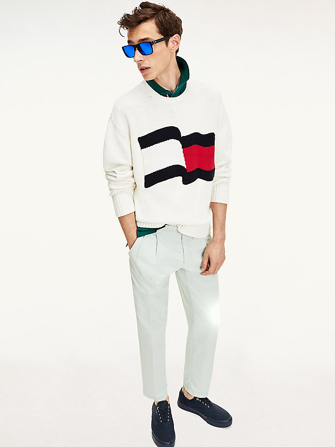 white big flag jumper for men tommy hilfiger