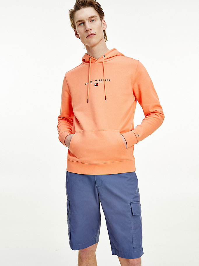 orange essential organic cotton terry hoody for men tommy hilfiger