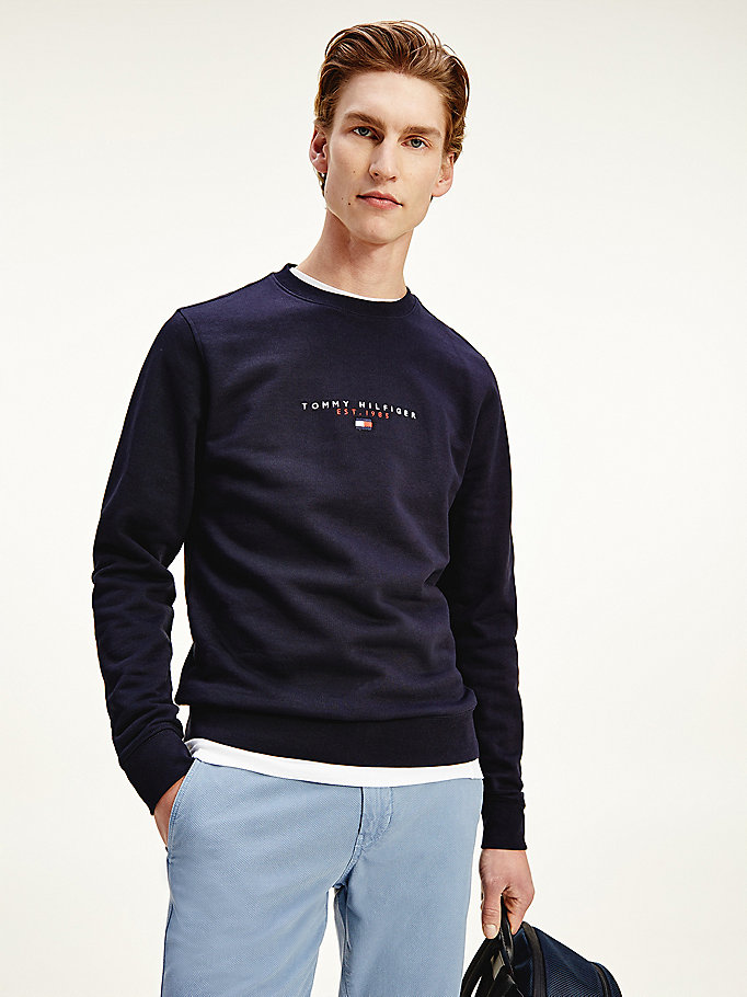 blue essential organic cotton crew neck sweatshirt for men tommy hilfiger