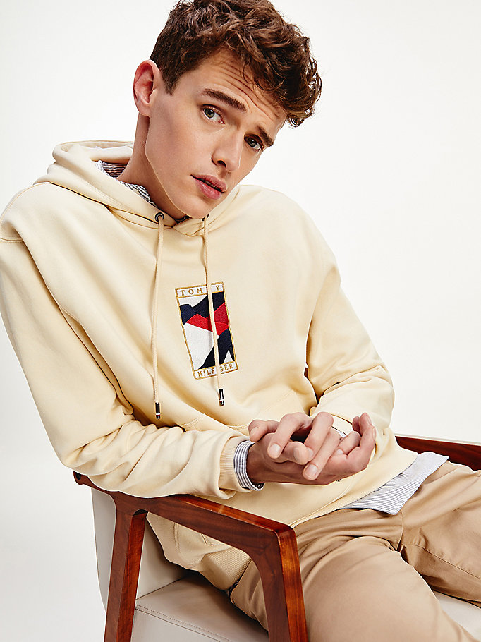 beige tommy icons hoody for men tommy hilfiger