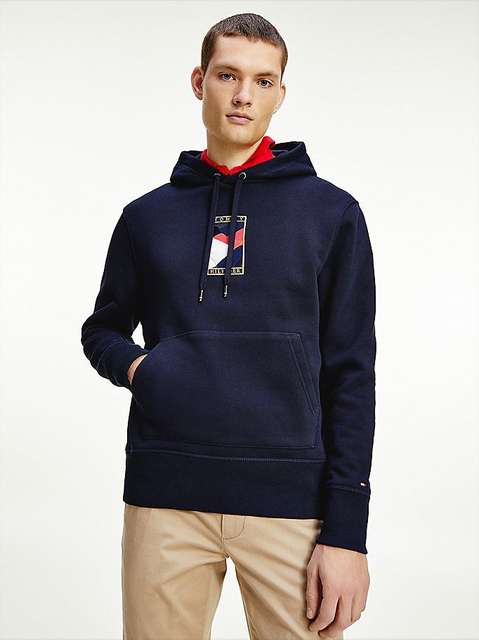 sweat à capuche tommy icons bleu pour men tommy hilfiger