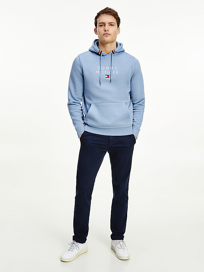 blue flag logo embroidery hoody for men tommy hilfiger