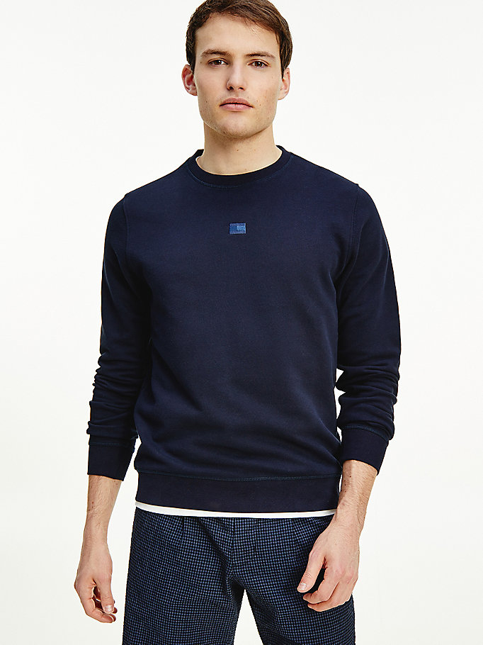 blue tonal flag crew neck sweatshirt for men tommy hilfiger