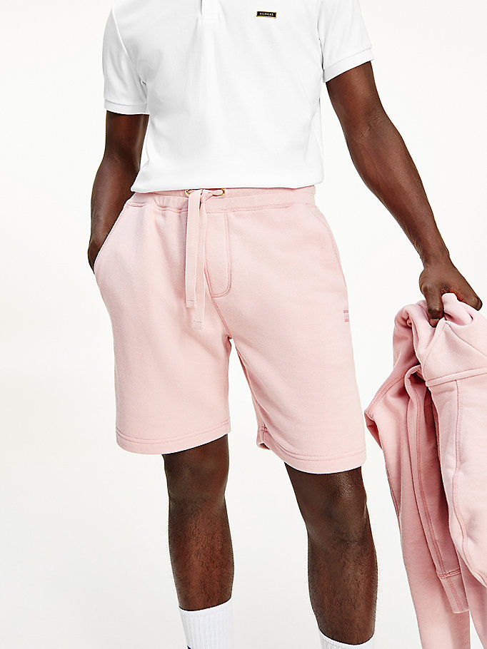 pink tonal flag sweat shorts for men tommy hilfiger