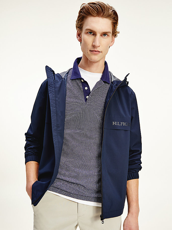blue technical hooded jacket for men tommy hilfiger