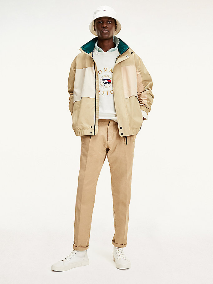bomber tommy icons color block beige da uomo tommy hilfiger