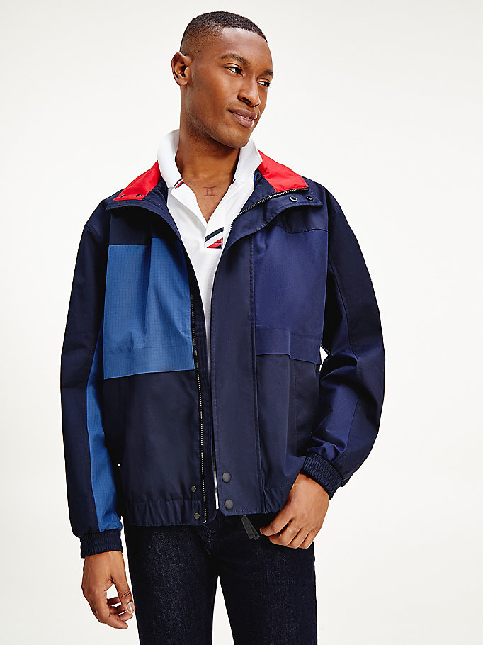 blauw tommy icons colour-blocked bomberjack voor heren - tommy hilfiger
