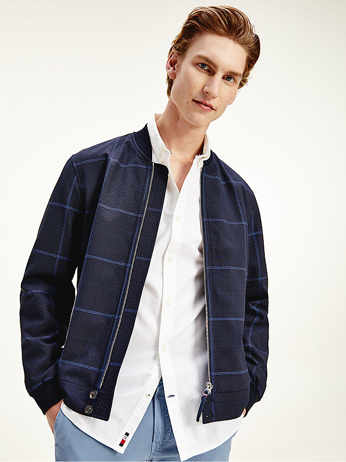 blue elevated windowpane check bomber jacket for men tommy hilfiger