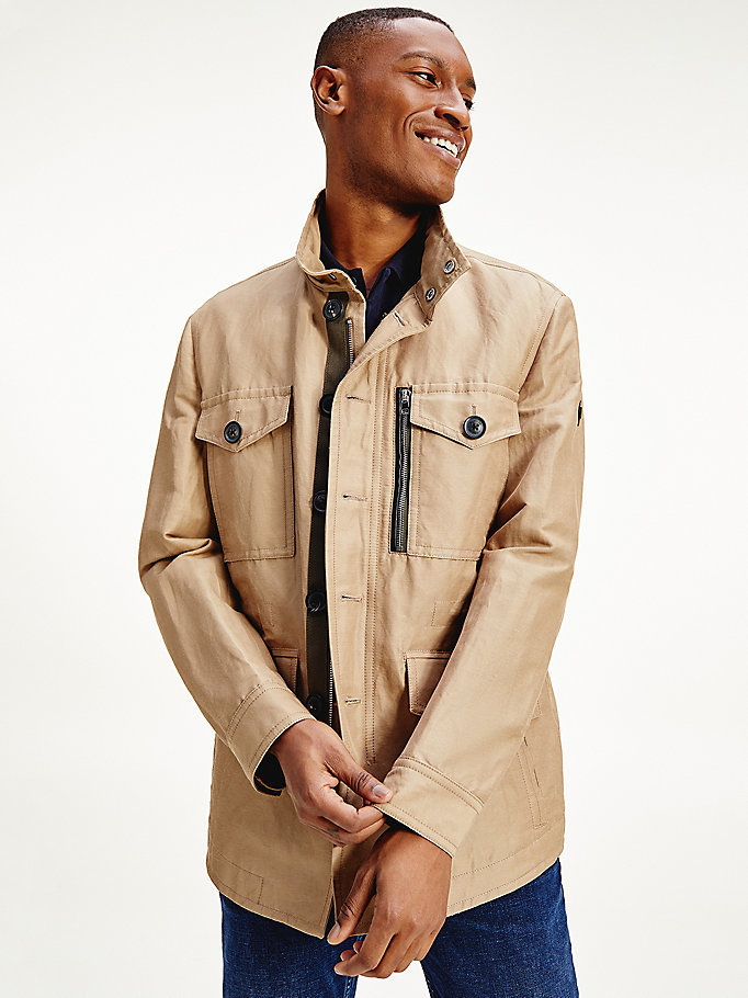beige elevated linen field jacket for men tommy hilfiger