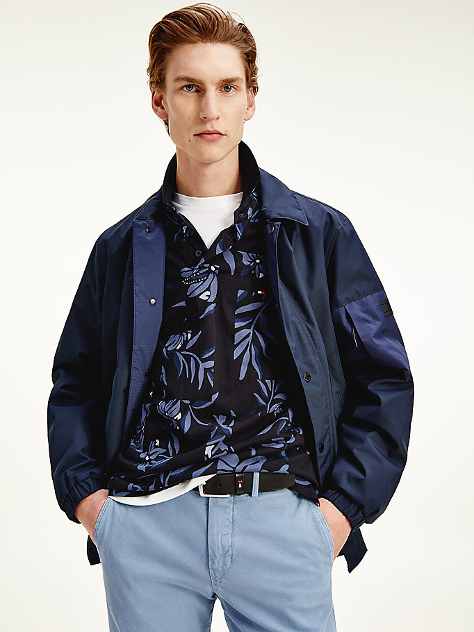blue essential coach jacket for men tommy hilfiger