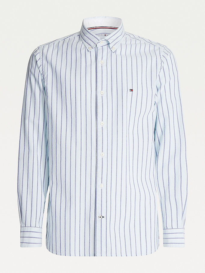 blue organic cotton oxford stripe shirt for men tommy hilfiger