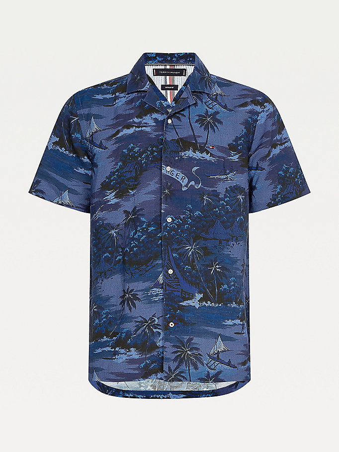 blue hawaiian print short sleeve shirt for men tommy hilfiger