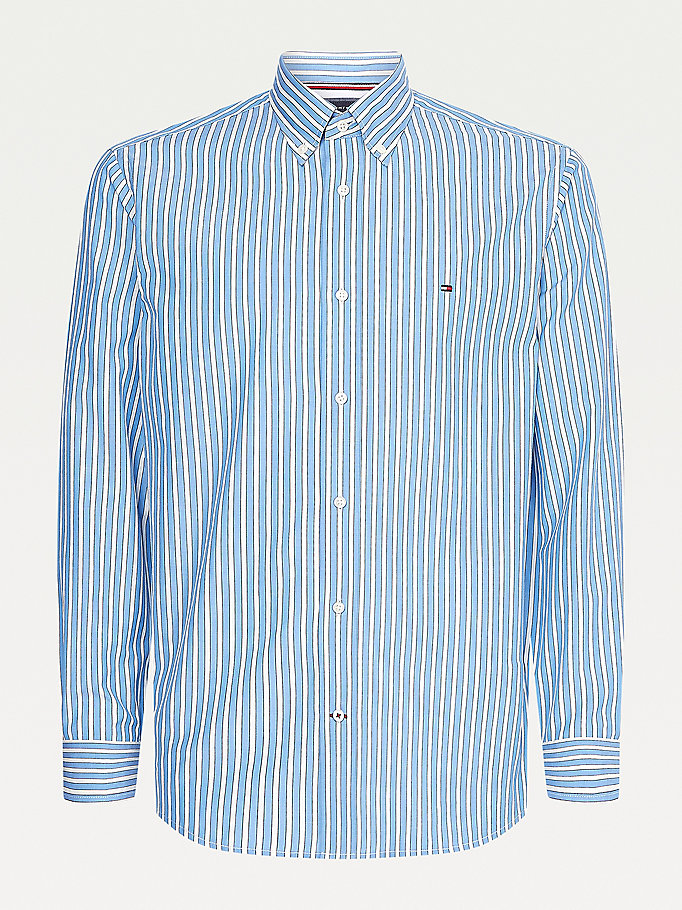 camicia regular fit a righe verticali blu da uomo tommy hilfiger