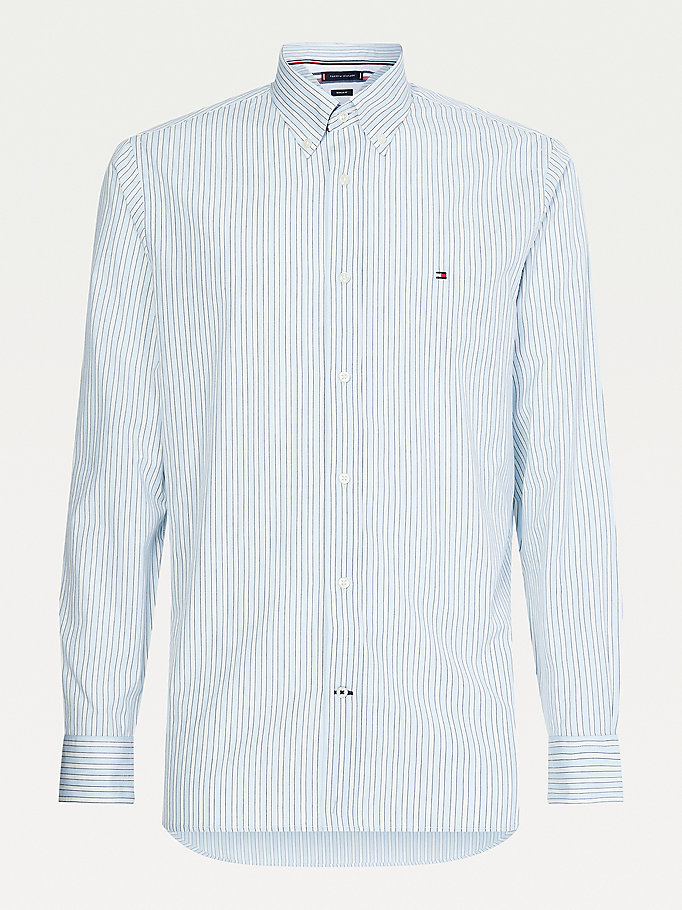 blue vertical stripe regular fit shirt for men tommy hilfiger