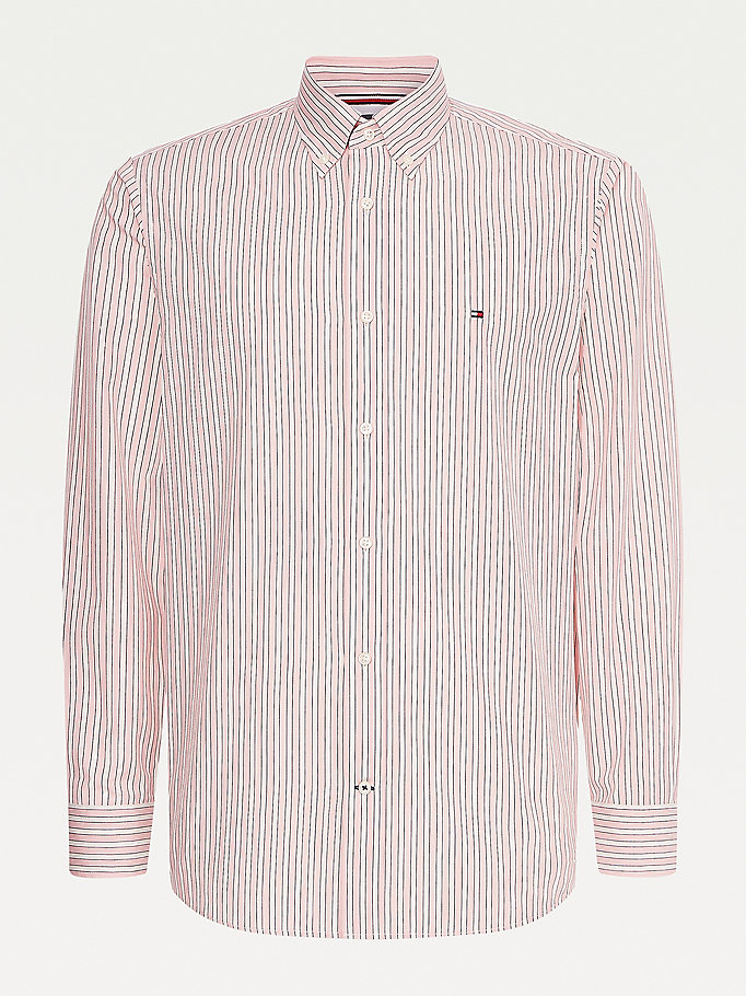 pink vertical stripe regular fit shirt for men tommy hilfiger