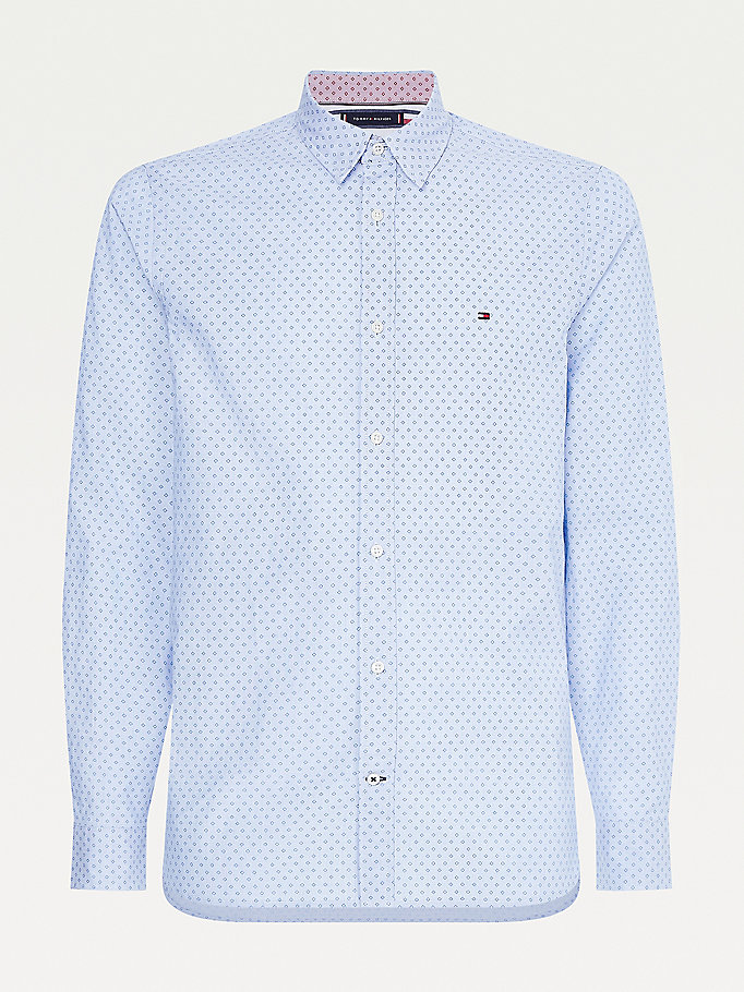 blue micro square print slim fit shirt for men tommy hilfiger