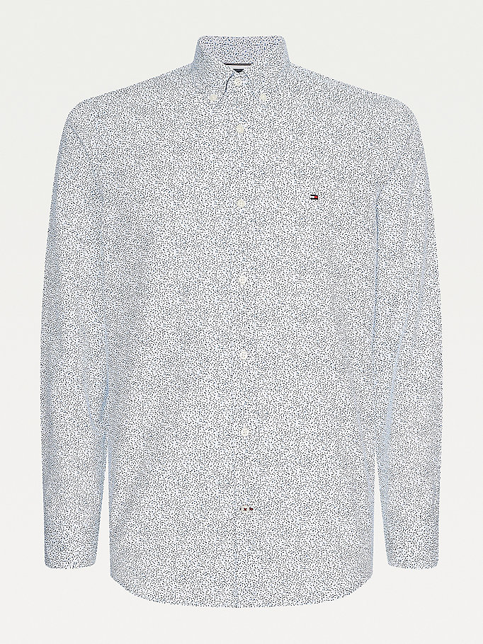 white micro floral print slim fit shirt for men tommy hilfiger