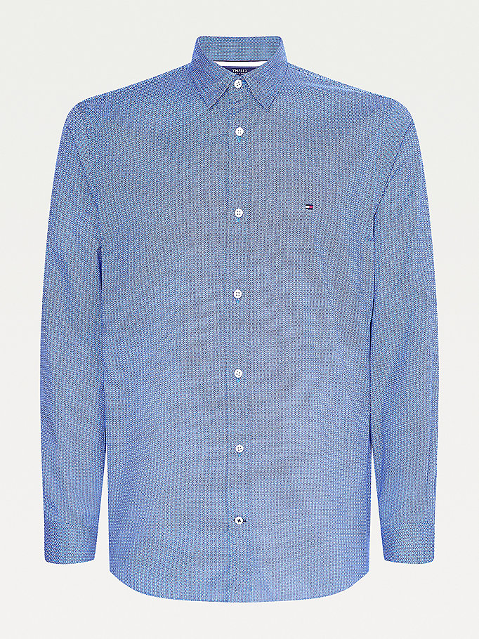 blue th flex geo regular fit shirt for men tommy hilfiger