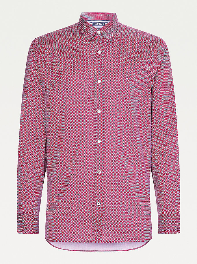 red th flex geo regular fit shirt for men tommy hilfiger