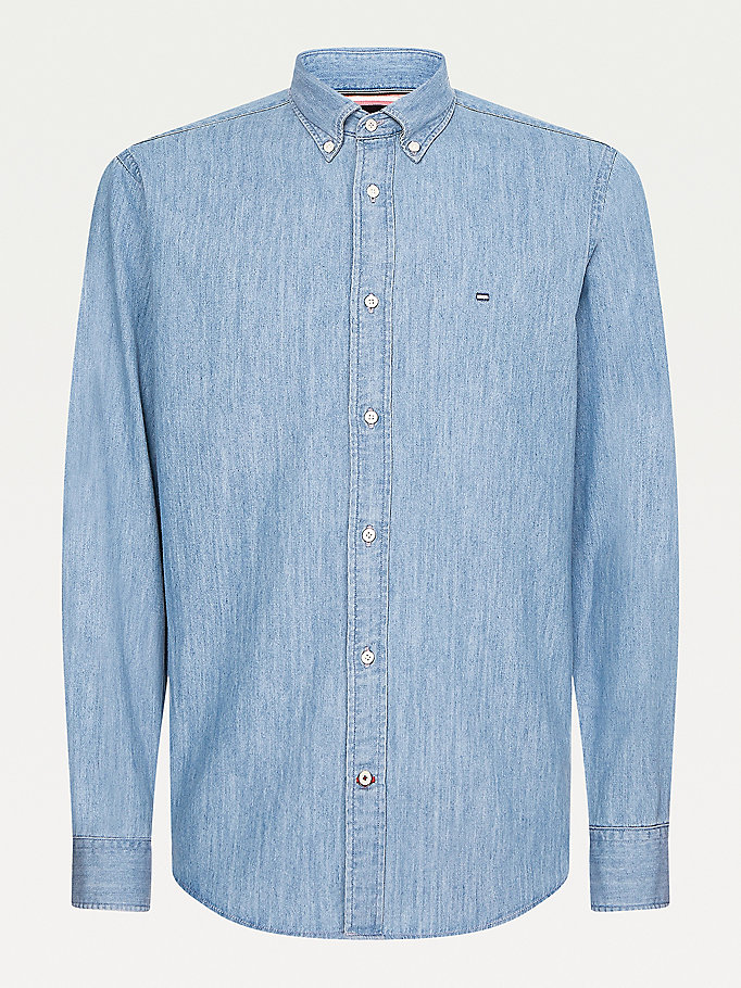 camicia regular fit in denim leggero denim da men tommy hilfiger